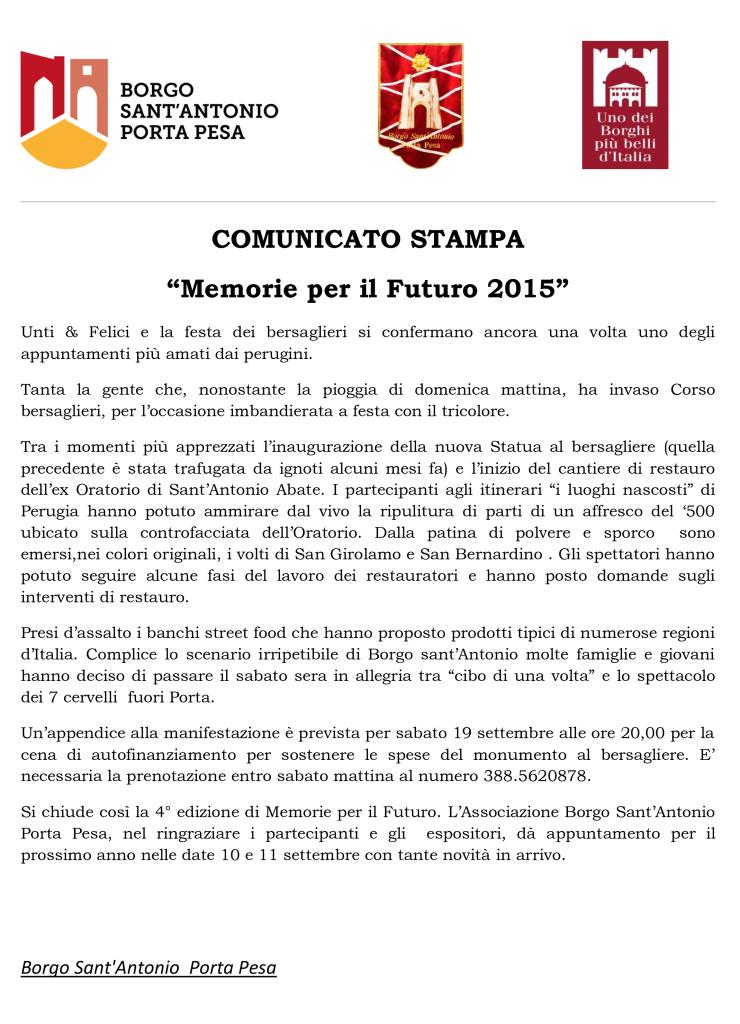COMUNICATO STAMPA finale Memorie per il Futuro 2015