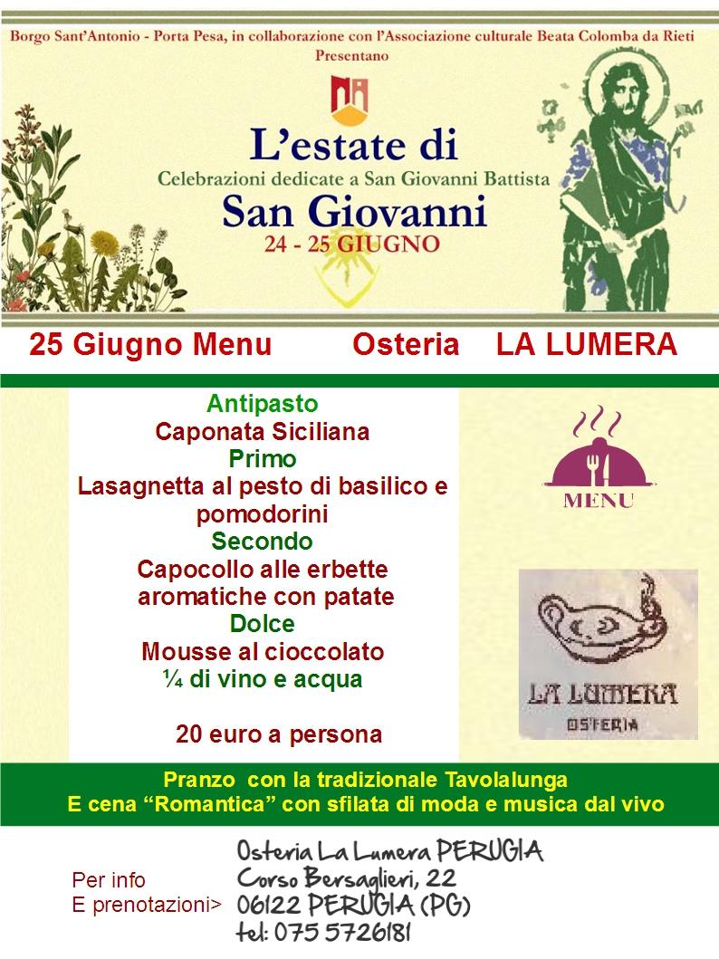 25 giugno menu la lumera